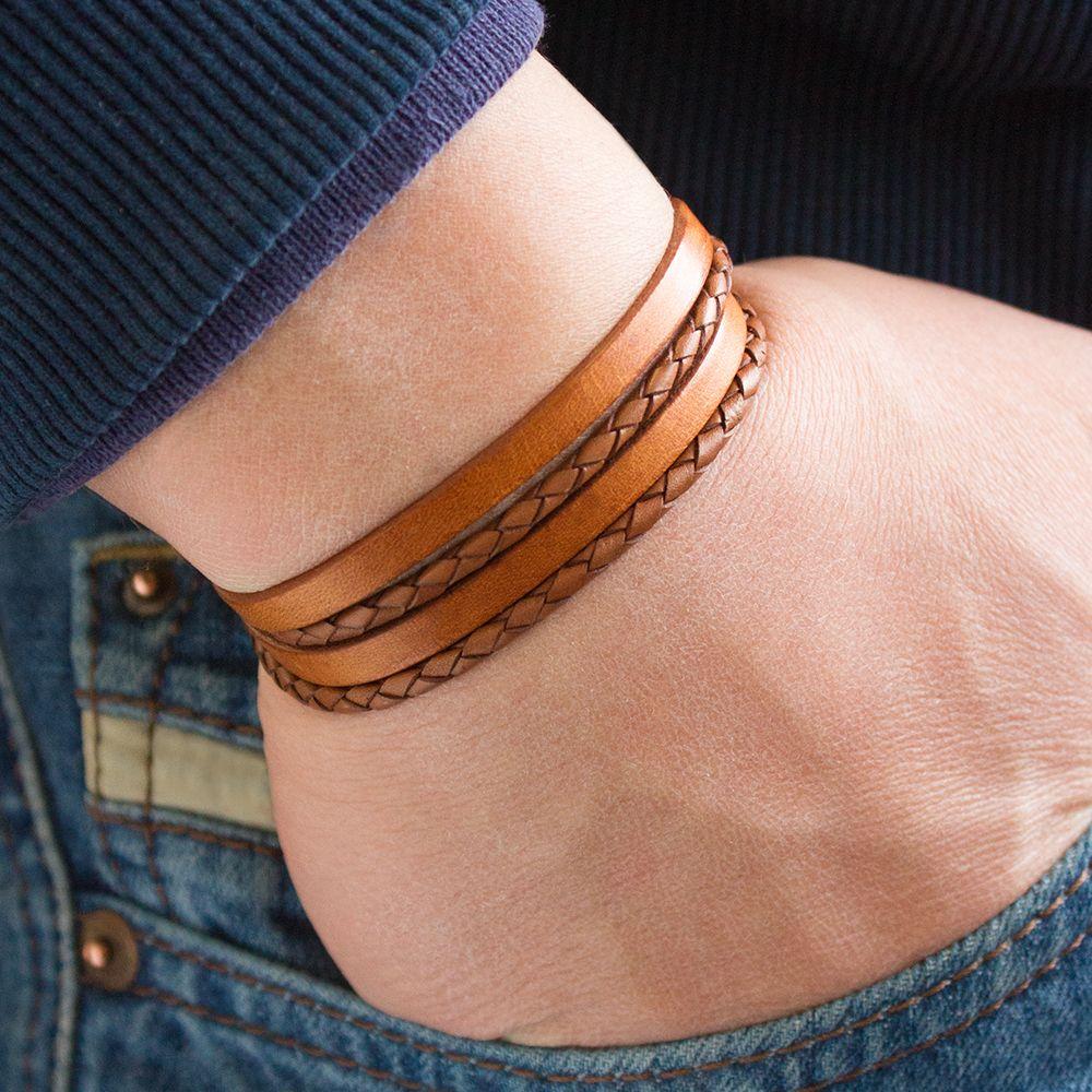 Bracelet en cuir homme gravure