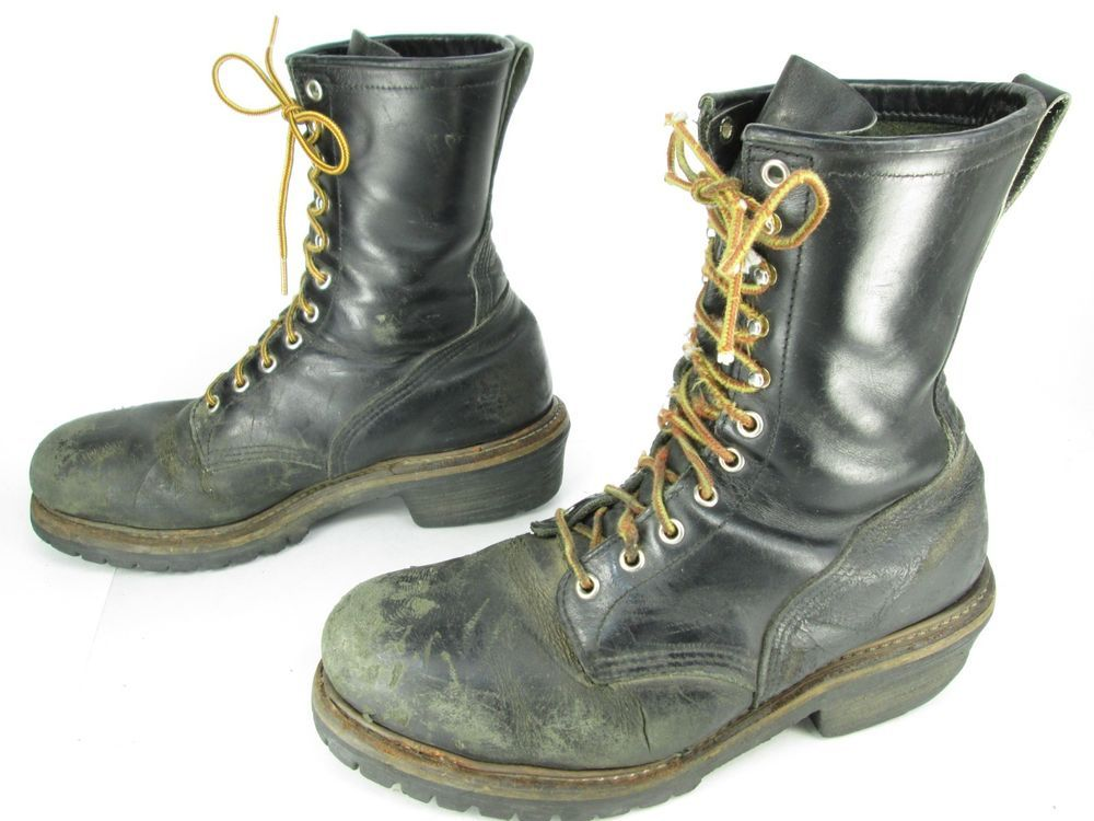 Men's Vintage Red Wing Black Leather Steel Toe Lineman Logger Work ...