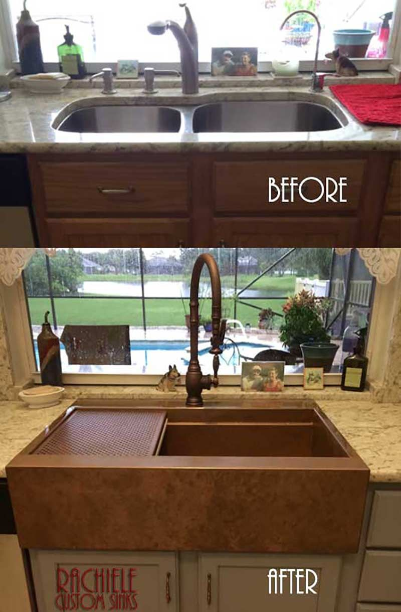 Patented Design Retrofit Copper Farmhouse Sink Has A Channel