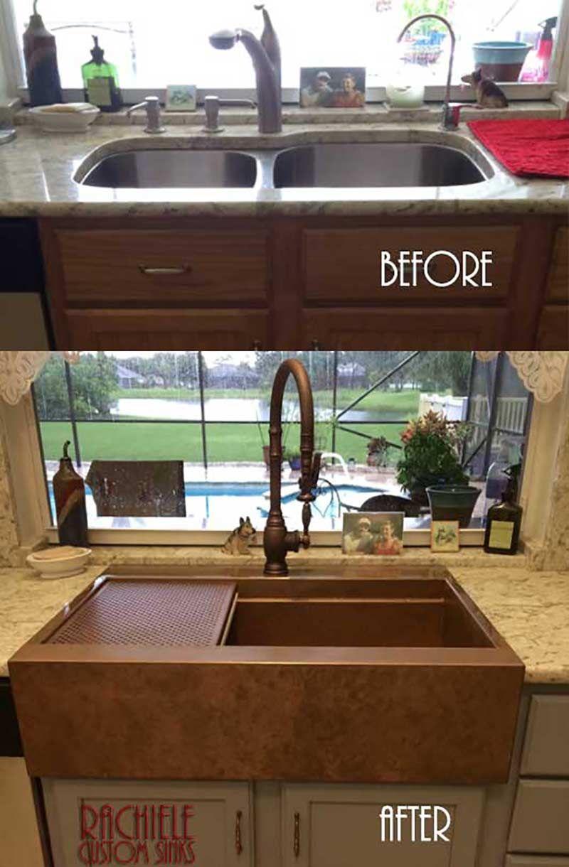 Patented Design Retrofit Copper Farmhouse Sink Has A Channel