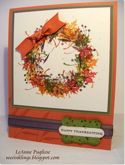 Autumn Wreath Using Rubber Stamp Tapestry Peg Stamps