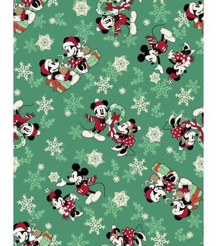 Disney Christmas Fabric By The Yard.Disney Cotton Print Fabric 43 Snowflakes Mickey Minnie