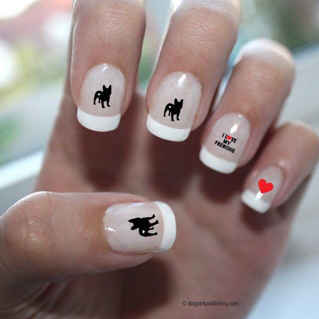 French Bulldog Love Nail Art French Bulldog Nail Art ...