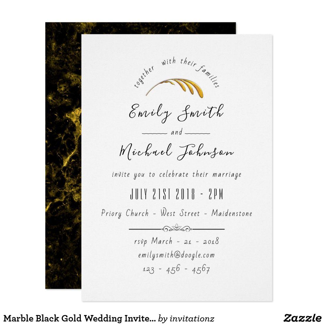 Marble Black Gold Wedding Invite Handwriting | Trending Wedding ...