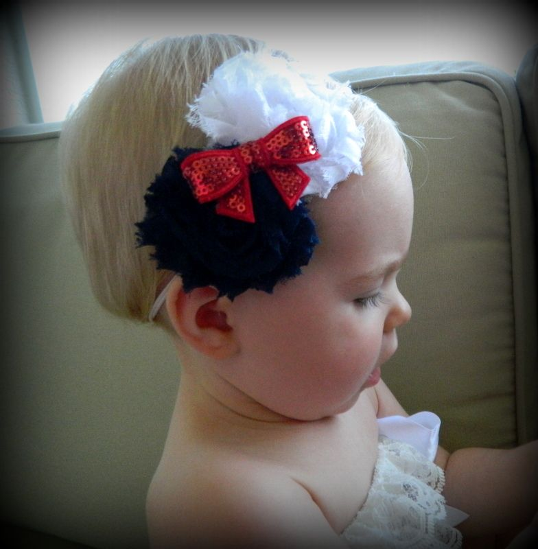 Red white and blue shabby flower headband. Perfect for 4th of July, Memorial Day, or any kind of Americana theme. Great prices and low shipping!