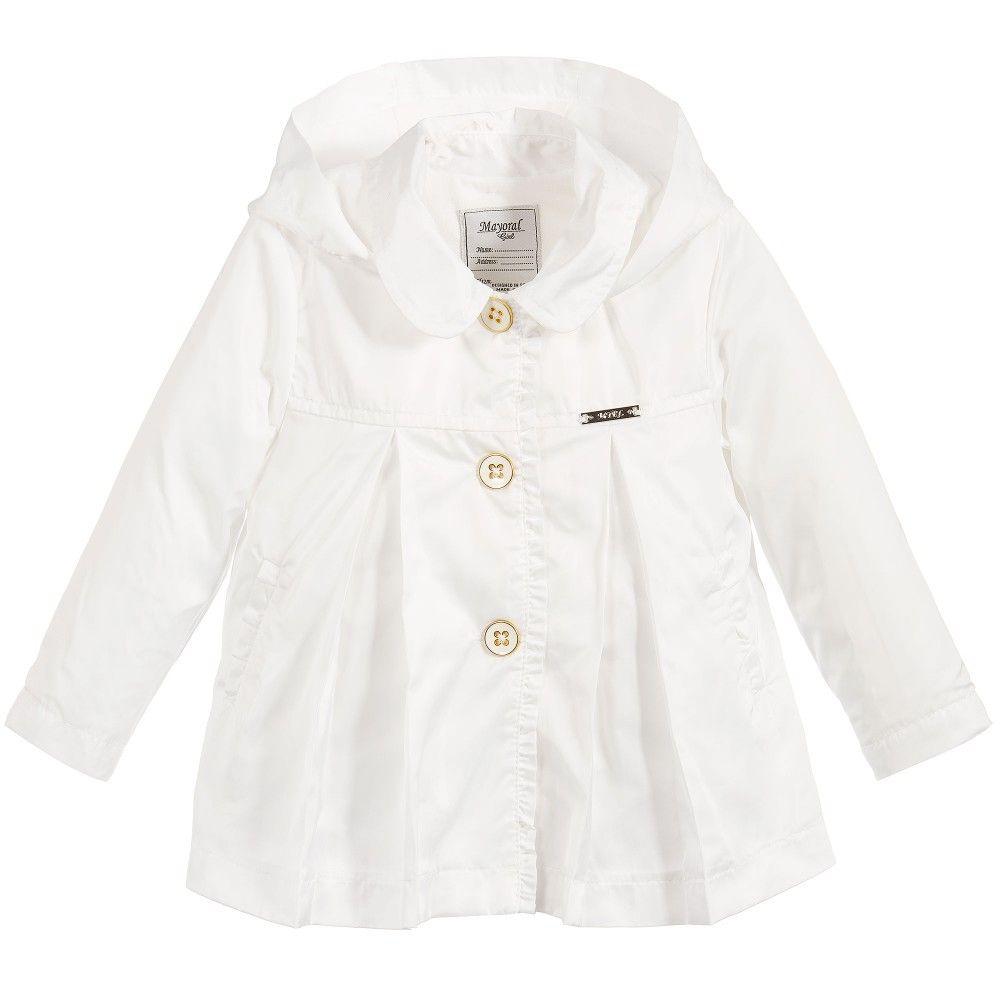 8ea67444a Mayoral Baby Girls Ivory Jacket with Hood at Childrensalon.com ...