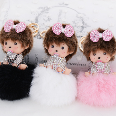 >> Click to Buy << Monchhichi Crystal Keychains Metal Key Ring Key Hanger Genuine Ribbit Fur Pompom Key Chain Luxurious Decoration Bag charm M93 #Affiliate