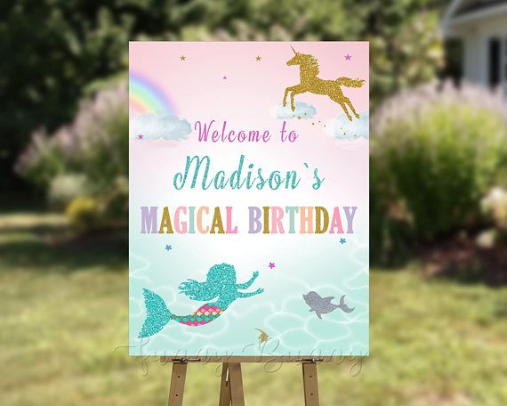 Magical unicorn Welcome sign Unicorn Mermaid welcome sign Little mermaid and unicorn poster Magic birthday party sign Mermaid welcome poster - Magic birthday, Magic birthday party, Unicorn party favors, Unicorn birthday parties, Unicorn birthday, Party signs - products are for personal use only   You may not forward, share, sell or distribute the file(s), in whole or in part   They are for noncommercial use only  ©copyright 2017 FunnyBannyCreative All Rights Reserved