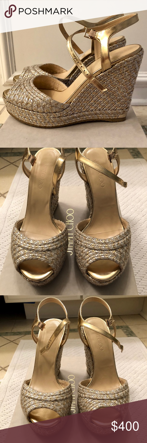 74f858f2d98 Jimmy Choo Silver  amp  Gold Perla Dore Wedge Jimmy Choo Dore Wedge Sandals.  Gold