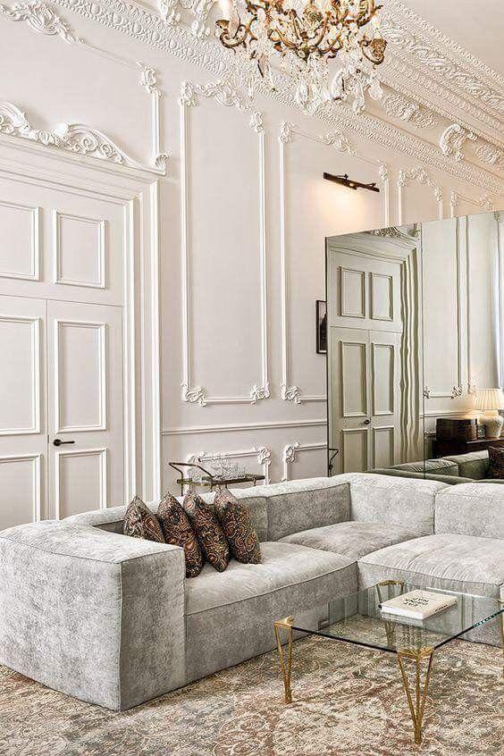 Parisian Home Decor Ideas White Walls Trim Mirrors Luxury Interior Luxury Living Room Best Interior Design #white #walls #living #room #decor