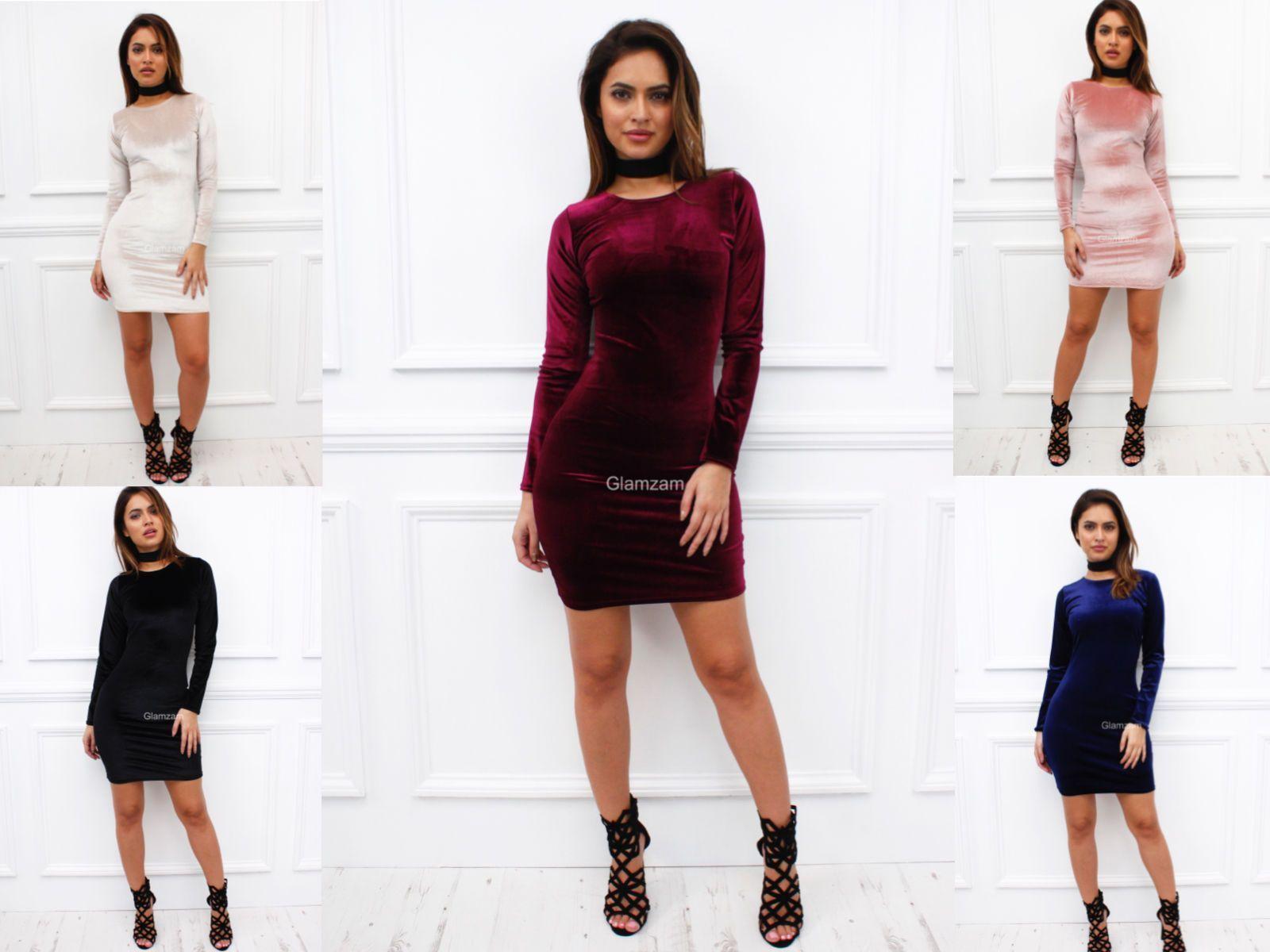 Glamzam womens ladies long sleeve velvet velour bodycon stretch mini