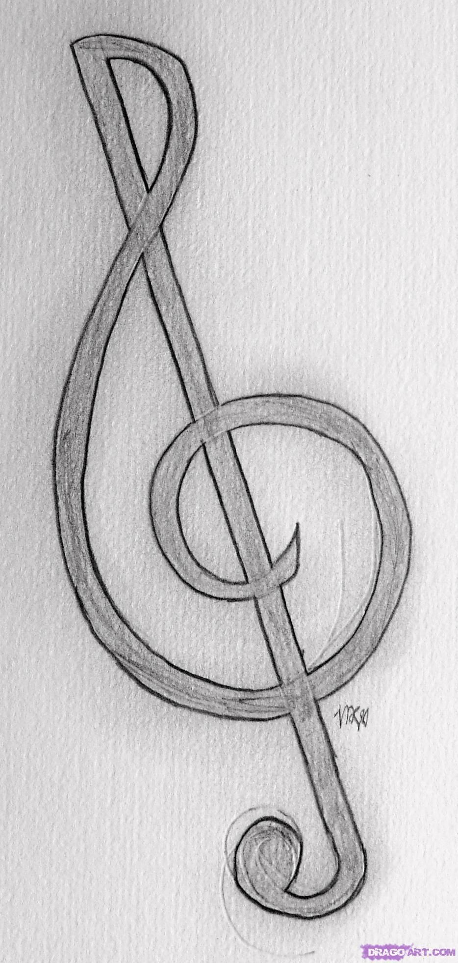 Easy To Draw Music Notes : music, notes, Treble, Clef,, Step,, Notes,, Musical, Instruments,, Online, Drawing, Tutorial,, Added, Music, Notes, Drawing,, Drawings,