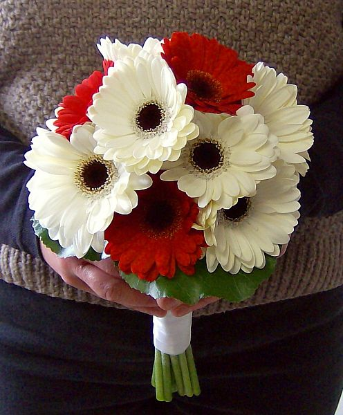 Gerbera Daisy With Ribbon Streamers Flower Girl Bouquet With