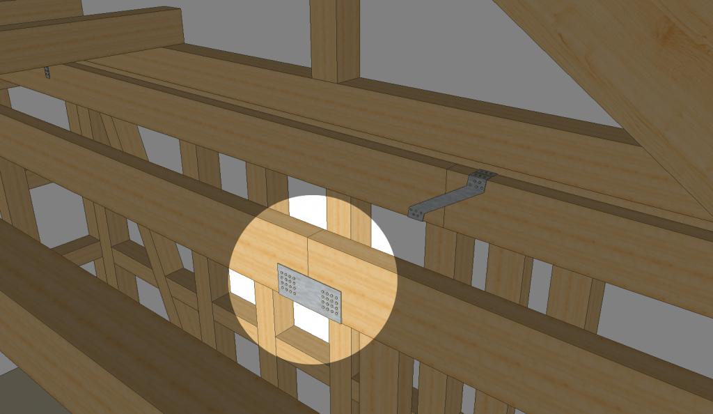 Balken verbinden Kreuzung mit einem Gerberverbinder