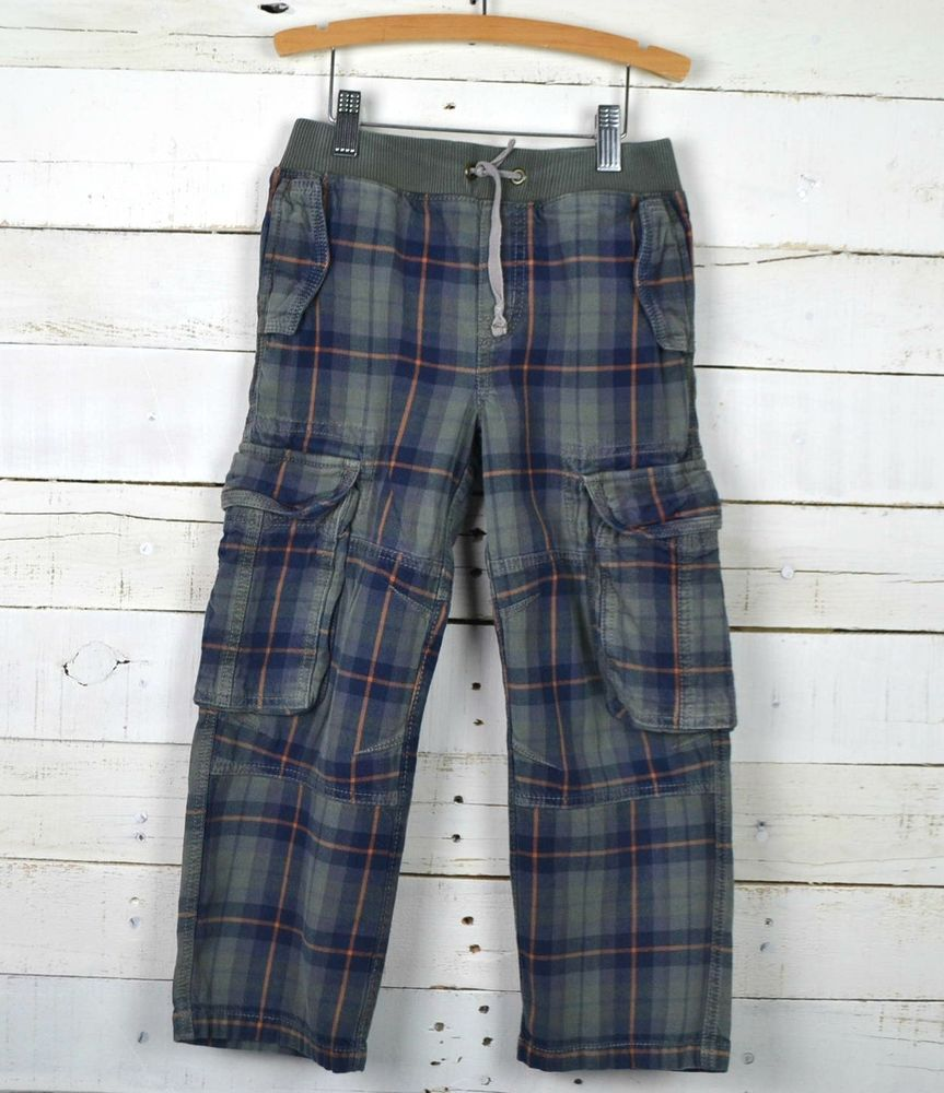 a18493827d667 Boys MINI BODEN Sz 7y Plaid Cargo Pull On Pants Green Navy Orange #MiniBoden  #CargoCombat #Everyday