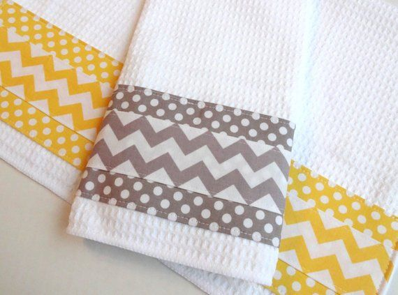 Set Of 2 Towels Kitchen Towels Grey And Yellow Yellow And Gray