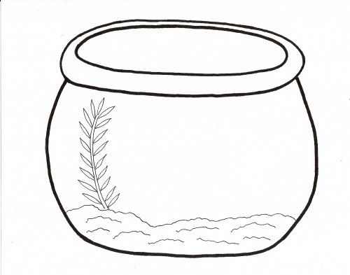 Empty Fish Bowl Coloring Page Fish Printables