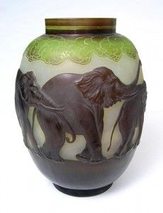 Gallé blownout elephant vase