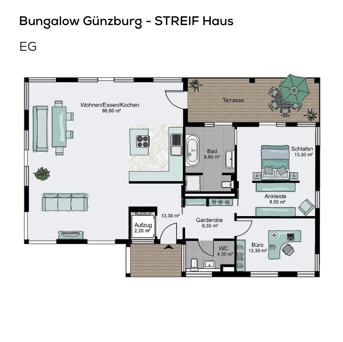 Grundriss Bungalow Haus barrierefrei mit Flachdach