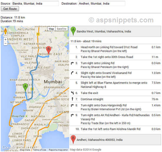 Google Maps V3 API: Calculate distance between two addresses