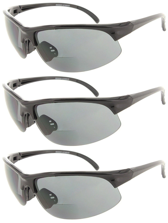 b4c8b813505 Fiore 3 Pack Bifocal Sun Reader Sport and Wrap Around Reading Sunglasses  Unisex Half Frame Readers