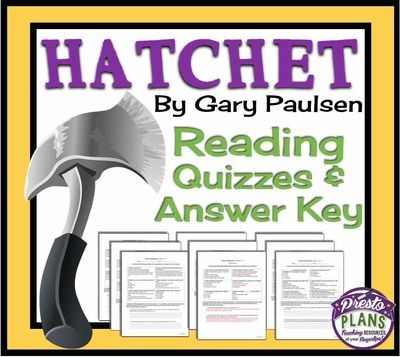 Hatchet Reading Comprehension Quizzes With Answer Key Gary Paulsen From Presto Plans On Teachersnotebook Reading Quizzes Reading Comprehension Gary Paulsen