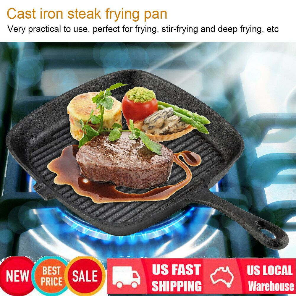 Cast Iron Induction Non Stick Grill Pan Skillet Cooking Fry Frying Griddle Pan