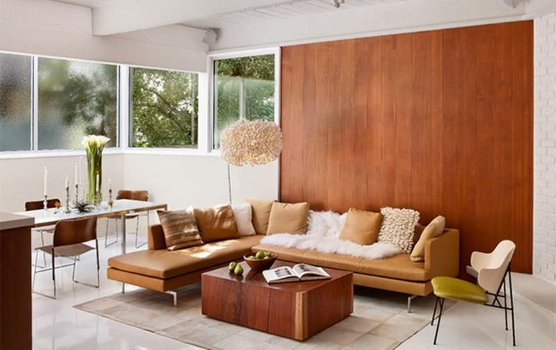 Walnut Wood Wall 20 Charming Living Rooms With Wooden Panel