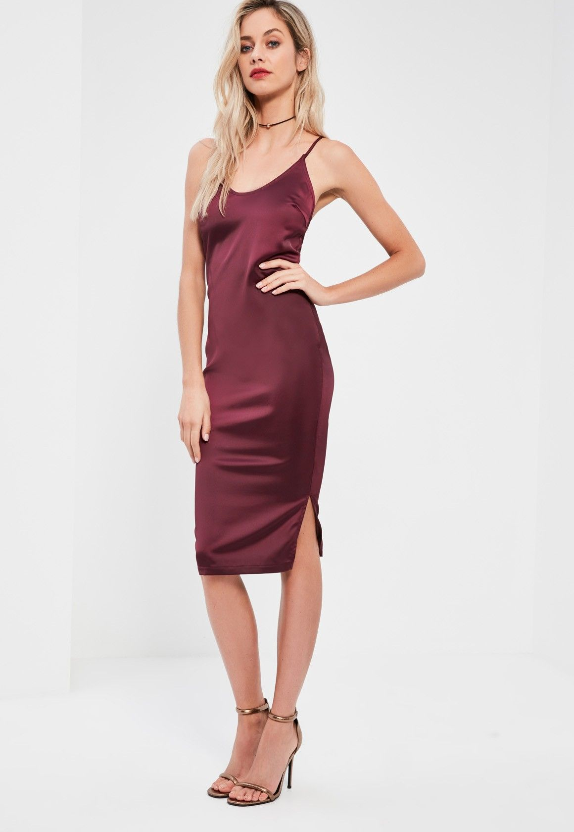 Missguided - Burgundy Silky Plunge Midi Dress  bfbd9ec80