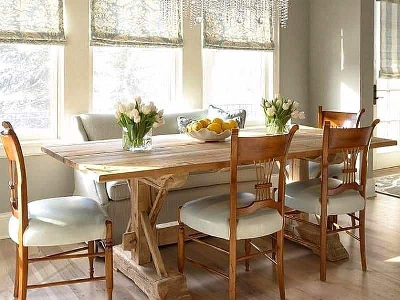 Scalloped Milk Glass Fruit Bowl On Unfinished Wood Trestle Dining