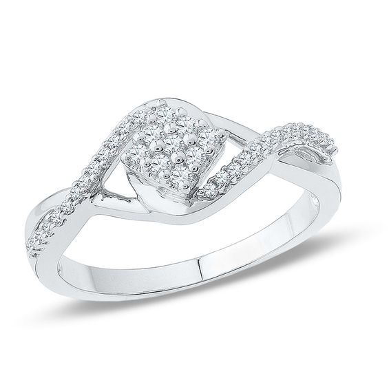 1 5 Ct T W Diamond Tilted Square Promise Ring In 10k White Gold White Gold Promise Rings Diamond Promise Rings