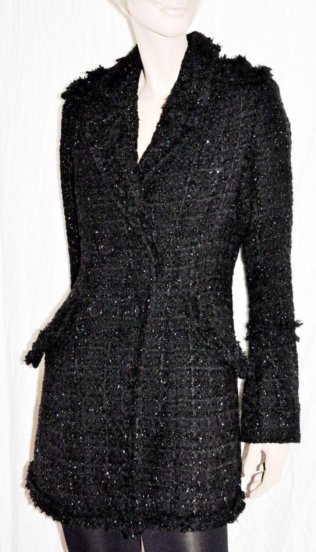 Enchanting & Warm Double-Breasted Woman Coat Jacket UK Size 12 Cappotto Giaccone Doppiopetto con Lurex Donna Nero WAREHOUSE Taglia 40/42 di BeHappieWorld su Etsy