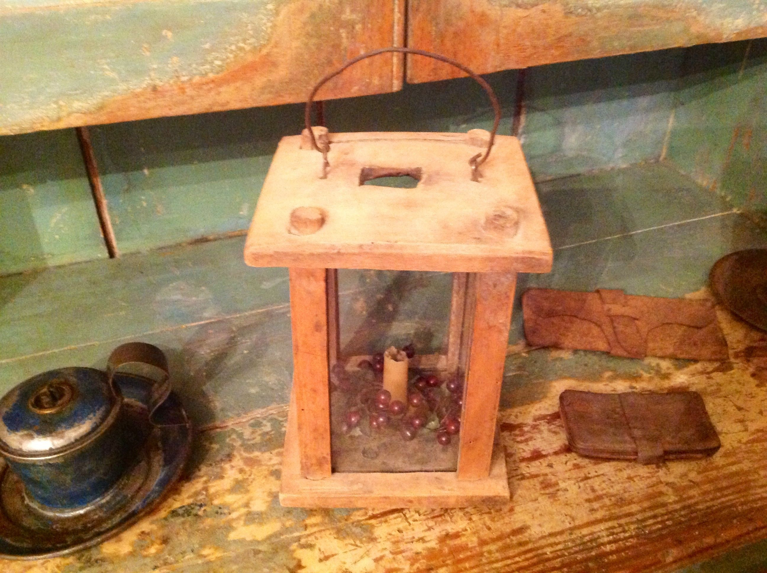 Old wooden candle lantern