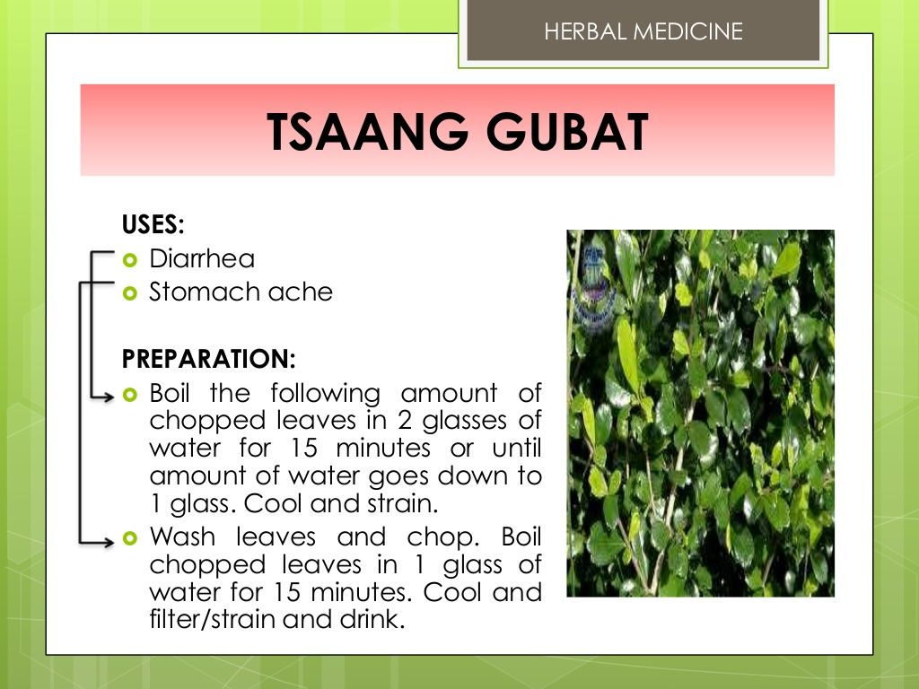 HERBAL MEDICINE TSAANG GUBAT USES Diarrhea Stomach ache