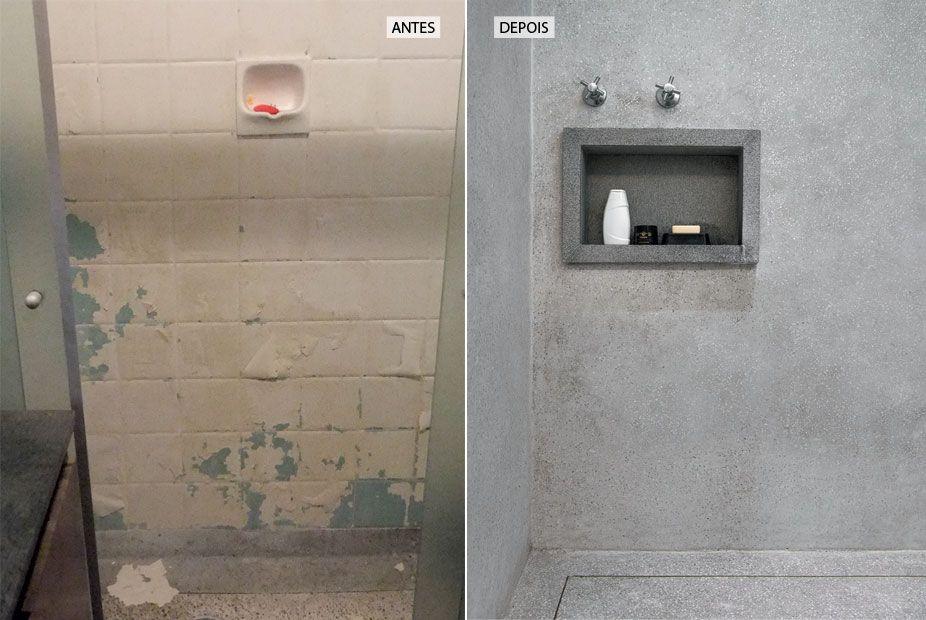 Pacto entre irmãos apartamento de 62 m² reformado  Granito cinza, Granilite -> Nicho Banheiro Cerâmica