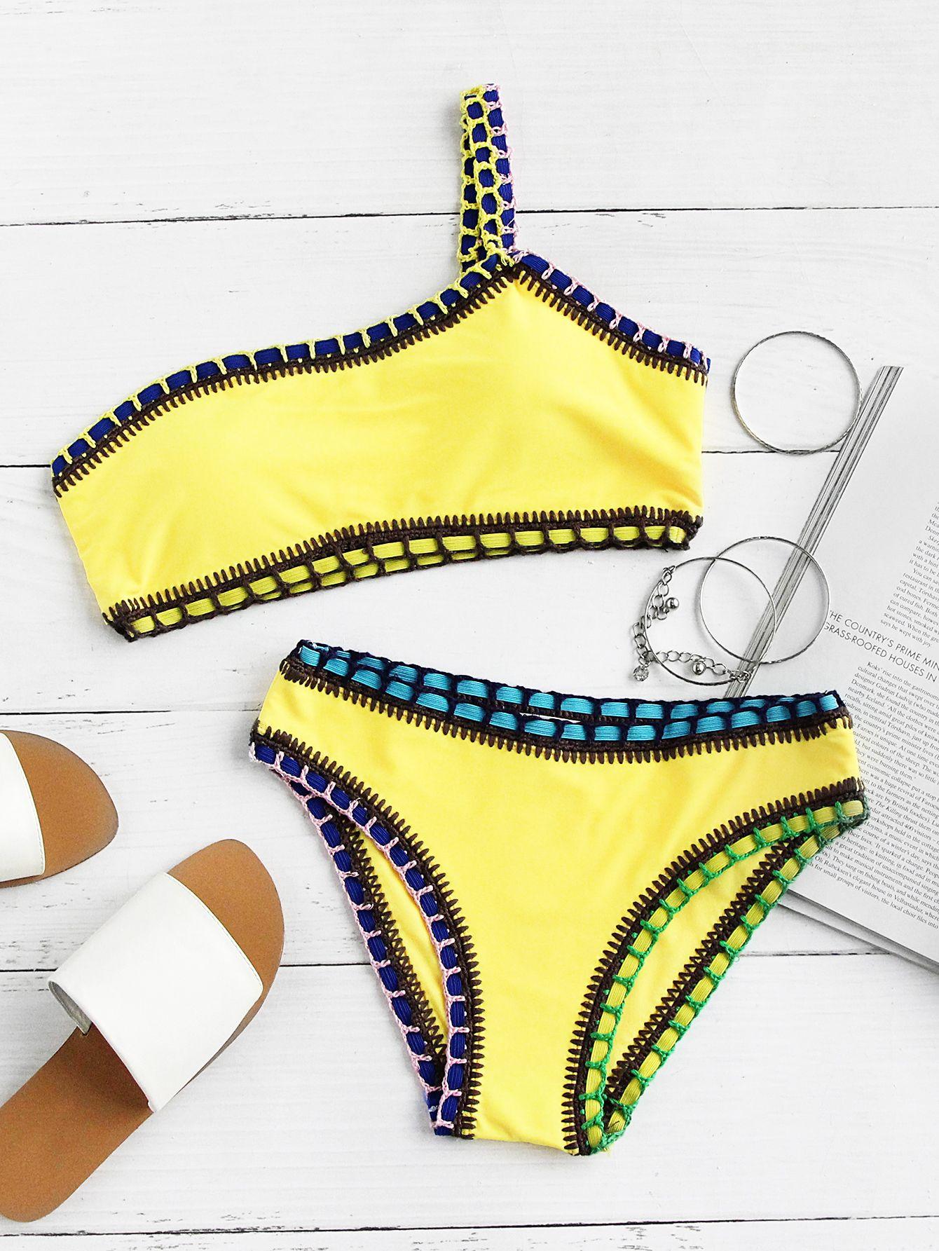 f10be5ad60286 Shop Crochet Trim One Shoulder Bikini Set online. SheIn offers Crochet Trim  One Shoulder Bikini Set   more to fit your fashionable needs.