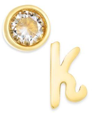 0b0898fda6f03 kate spade new york Gold-Tone Letter & Cubic Zirconia Mismatch Stud ...