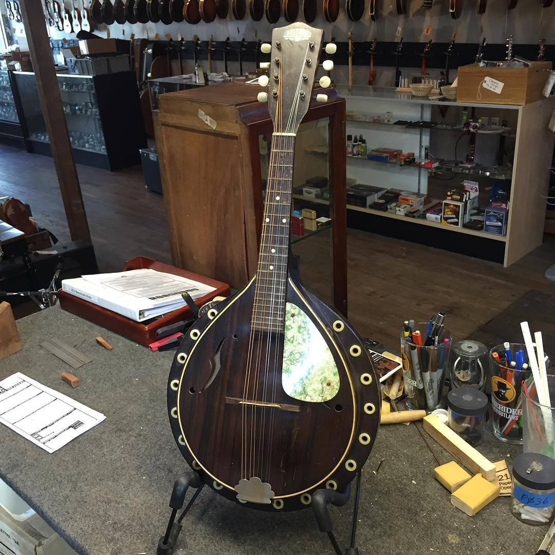 An interesting/unusual mandolin that just came into the shop for repair, made by Beltone.