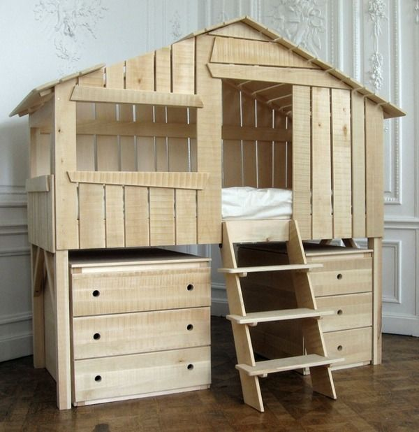 Hochbett Holz Stauraum Regale Spielhaus Kinder Zimmer
