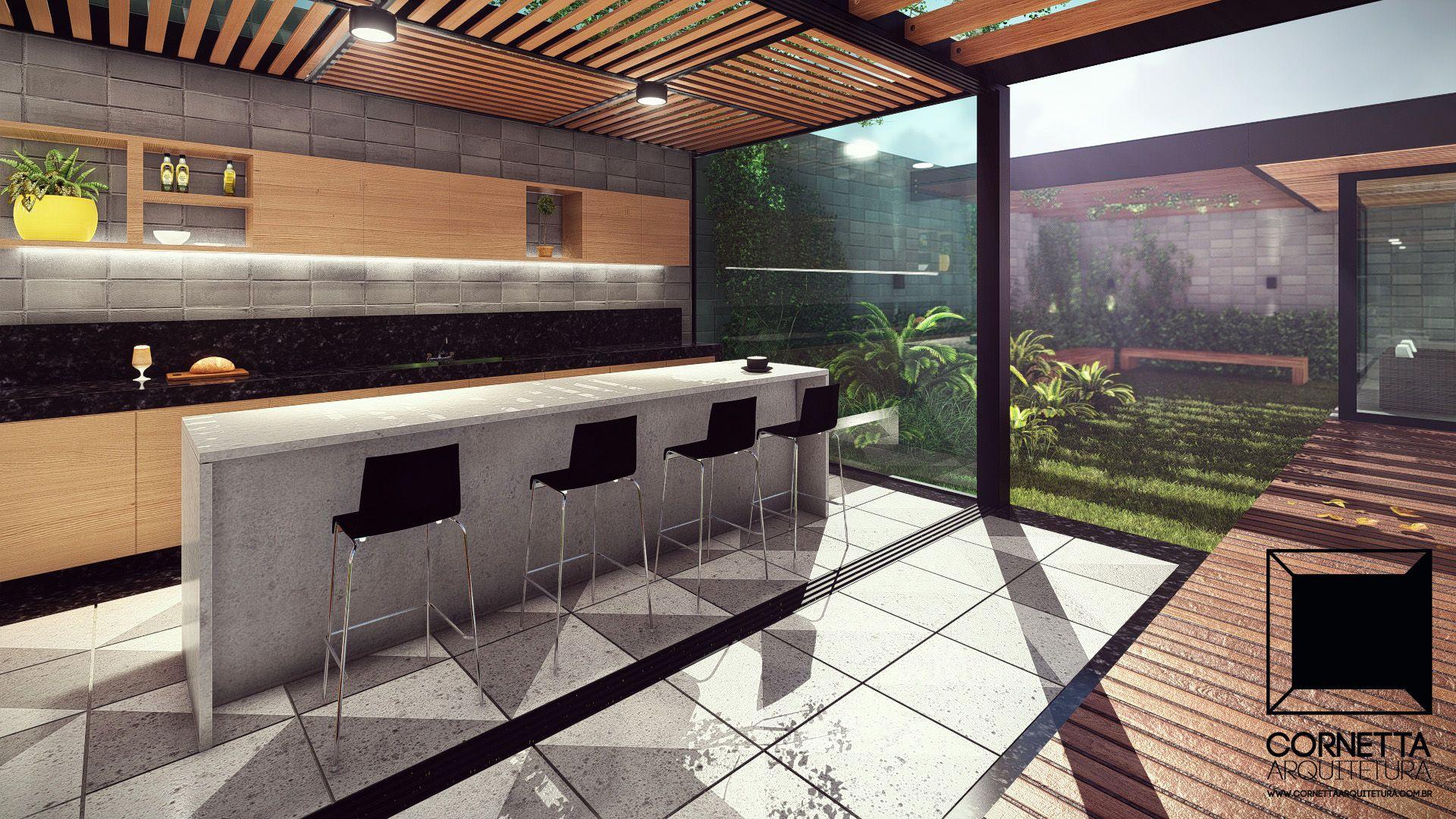 Casas alto padr o pergolado varanda concreto aparente - Pergolas de cemento ...