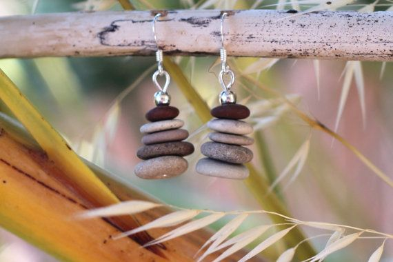 These cute little duos were made with Mediterranean beach stones and sterling silver earwires.  Of course no two pebbles are exactly the same, and