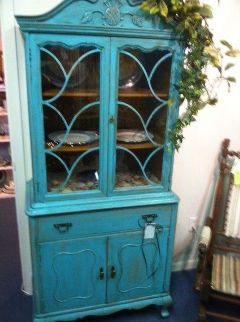 Turquoise Colored China Cabinet