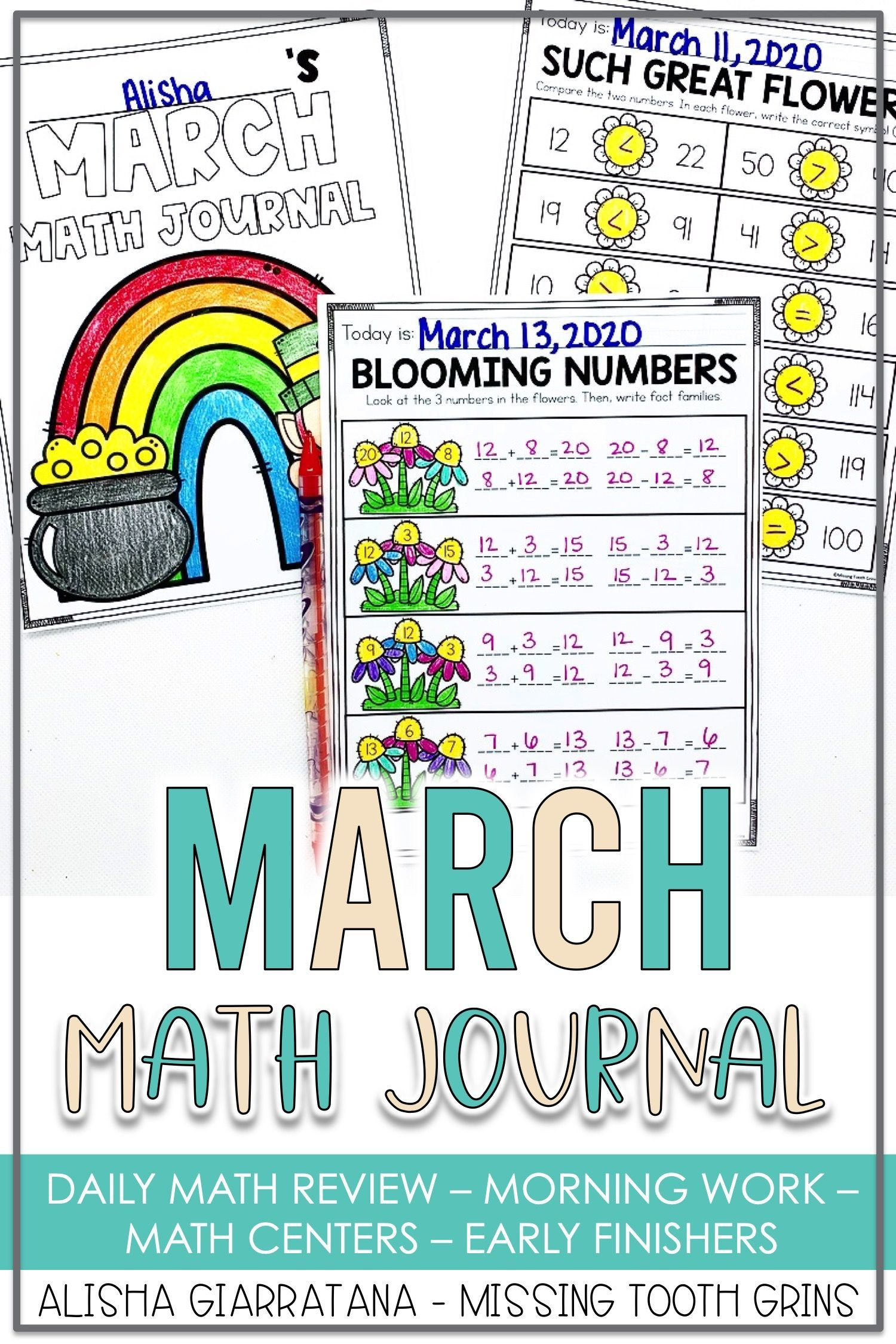 1st Grade Math Journal March