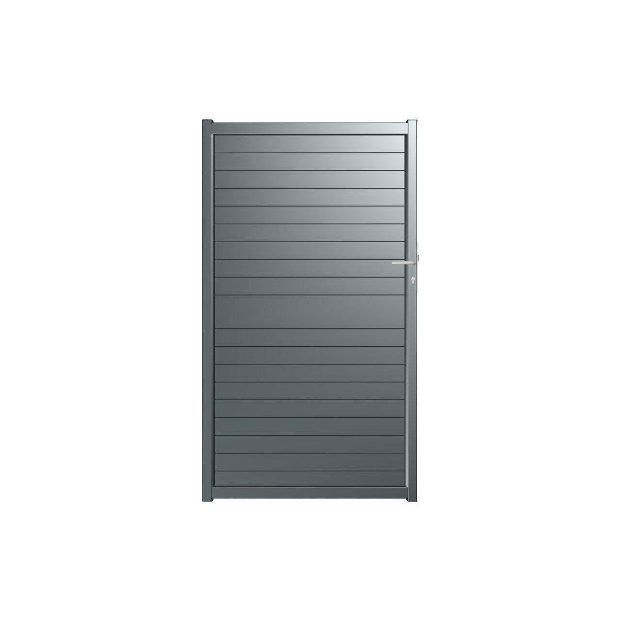 Portillon Battant Aluminium Nametyr Gris L 100x H 182 Cm