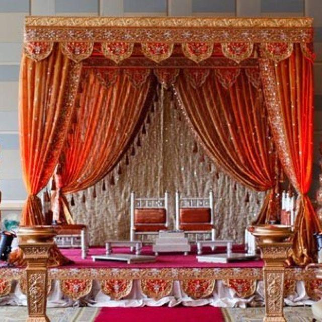 Window Wedding Altar: Mandap Beautiful Red Curtains Framing Wedding Altar