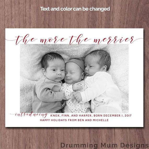 Triplets Christmas Birth Announcement Holiday Birth Announcement - Christmas birth announcement