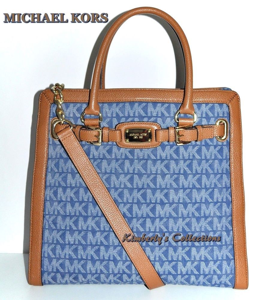 efd3f31dd98d MICHAEL KORS Hamilton Blue Signature Brown Leather Trim Tote Bag Purse NWT   MichaelKors  Satcheltotebagshoulderbag