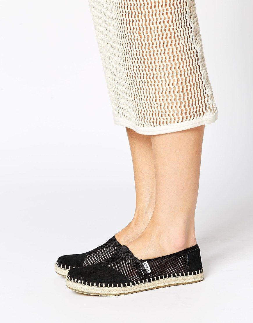 TOMS Black Mesh Espadrille Slip On Shoes