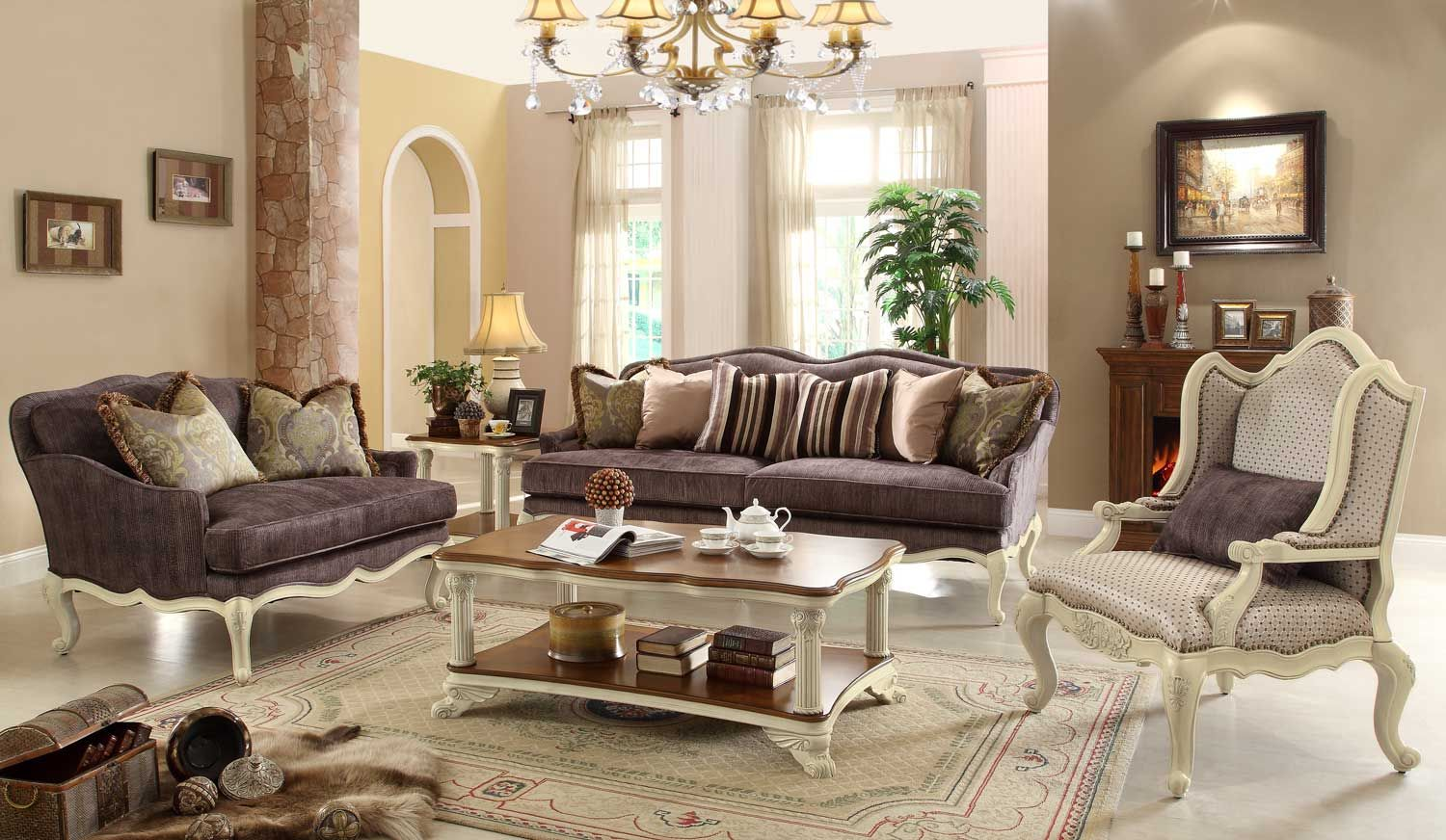 Best Homelegance Casanova Ii Sofa Set Antique White Living 640 x 480