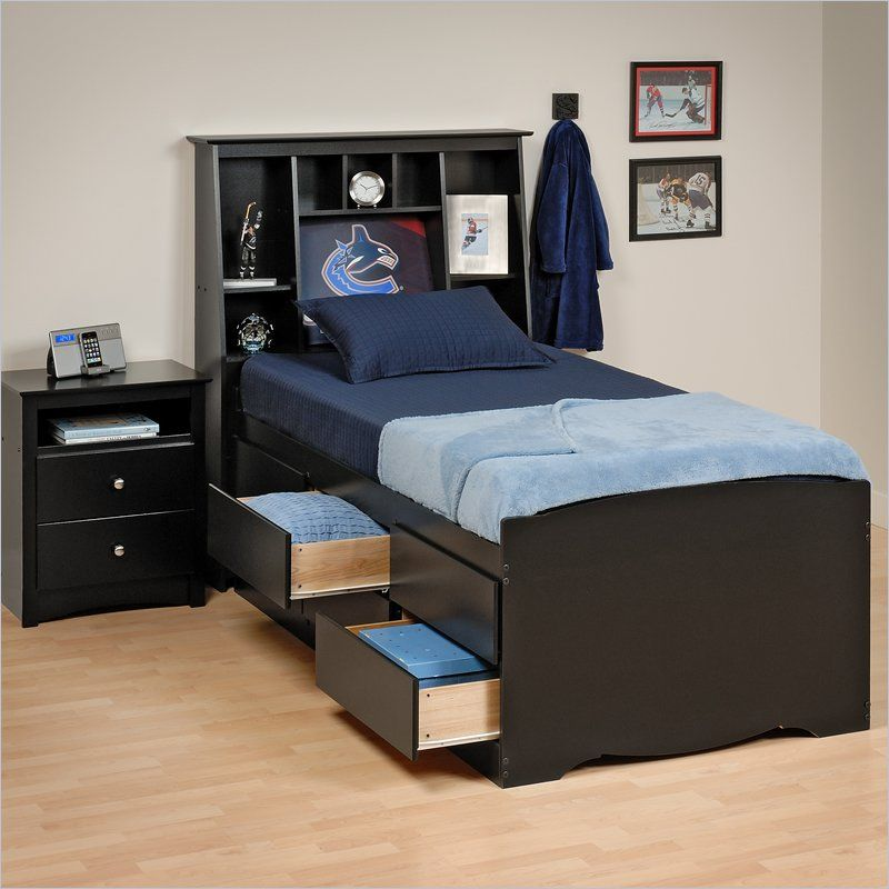 Prepac Sonoma Black Tall Twin Platform Storage Bed Storage Bed